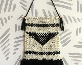 Wall Weaving | Woven Wall Art | Woven Wall Hanging | Wall Tapestry | Cream, Black, Triangle