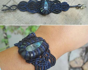 HANDMADE// Navy Blue and Black Macrame Stone Wrap Bracelet - Labradorite Cab and Glass Beads- Small and Extra Small Size 6 Inches