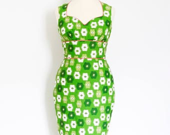 Green Abstract Cotton Cupid's Bow Pencil Dress - Made by Dig For Victory