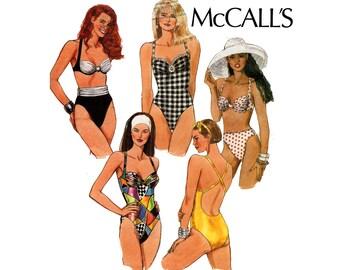 McCall's 5998 Womens 90s Bikini Swimsuits Pattern Bathing Suit Swimwear Size 12 Bust 34 inches Bra Cup Sizes A B C D UNCUT Factory Folded