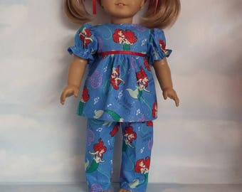 18 inch doll clothes - Little Mermaid Pajamas handmade to fit the American Girl Doll - FREE SHIPPING