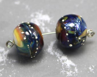 Give Me the Blues - Silver Glass Rainbow Twist Lampwork Bead Pair