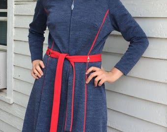 Space Age Mod Dress Blue Zip Up 70s Vintage L