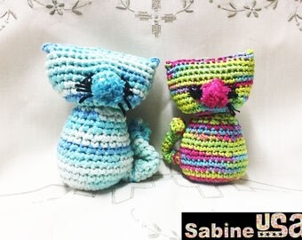 Sabine USA - Plush Crochet Cats - Amigurumi Cat Toy - Crochet Toy, Plushie Cat - Crochet Softie Cat - Handmade - S01/S02