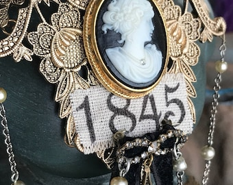bride of 1845 - vintage cameo necklace assemblage pearl chain art deco rhinestone black velvet ribbon victorian revival gothic statement bib