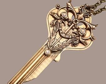 Key Necklace Vintage Key Necklace Key Pendant Necklace