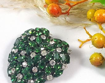 Vintage Emerald and Ice Puffy Heart Brooch
