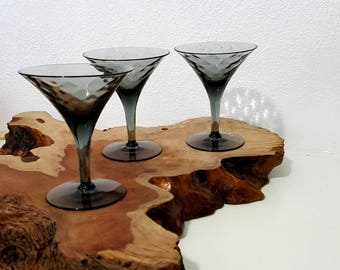 Mid-Century Modern Martini Glasses. Smoke Gray Flemish Glass from the 60s. S/3
