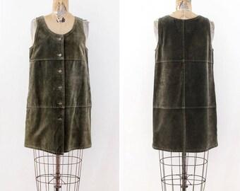 Vintage Suede Dress - Green Leather Dress - Size Small - Size Medium - leather mini dress - boho hippie festival