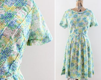 1960s Floral Print Dress Size Large - Vintage Spring Flowers Blue Green Yellow - L 1950s Cotton Dress Midcentury Mad Men Style 32 Waist