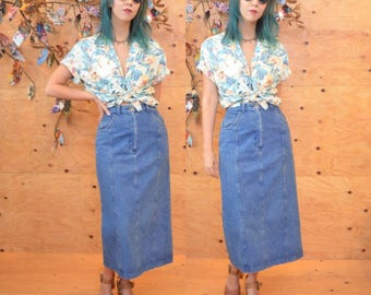 vintage 70's denim maxi midi skirt waist 28