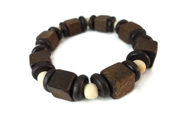 Dark Brown Wood Bracelet White Beads, Two Tone Brown Unisex Jewelry Wooden Shapes, Neutral Stretch Bracelet Brown Wood Cube Beads