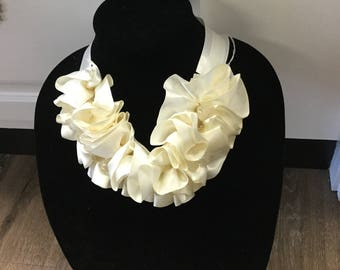 Ruffled Ivory Satin Clear Teardrop Beads Neckline Applique Necklace Embellishment Felt Box F ST