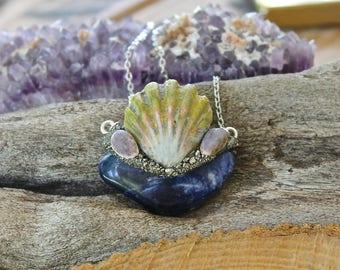Sodalite & Seashell Necklace - Hawaiian Jewelry - Sunrise Shell Necklace - Blue Stone Necklace - Mermaid Jewelry - Ocean Inspired Boho Chic