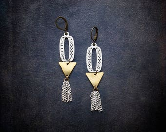 Boho Geometric Earrings White Enameled Chain Tassel Assemblage Statement Vintage Raw Brass Filigree Edgy Boho Festival Jewelry Upcycled