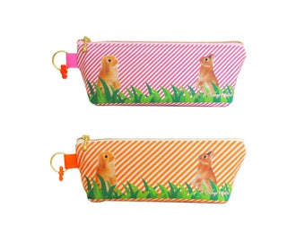 Orange Apollo's Zipper Pencil and Pen Pouch / Case for Bunny Lovers (Netherland Dwarf & Holland Lop)