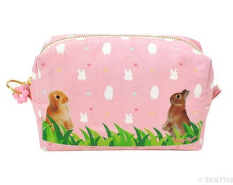 Orange Apollo's Box / Square Zipper Pouch for Bunny Lovers (Bunnies Standing Up, Rose Pink)