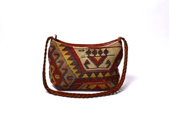 Handmade Kilim Purse with Leather Chain Strap, Made in Turkey