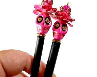 Hot Pink Sugar Skull Hair Sticks, Day of the Dead, Dia de los Muertos, Latina Hair Accessories, Bun Holder,  PAIR