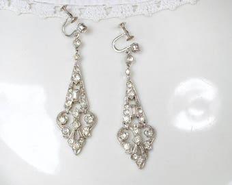 Art Deco Antique French Paste Drop Earrings 1920 Rhinestone Pave Dangle Bridal Statement Earrings Flapper Jewelry Vintage Wedding Screw Back