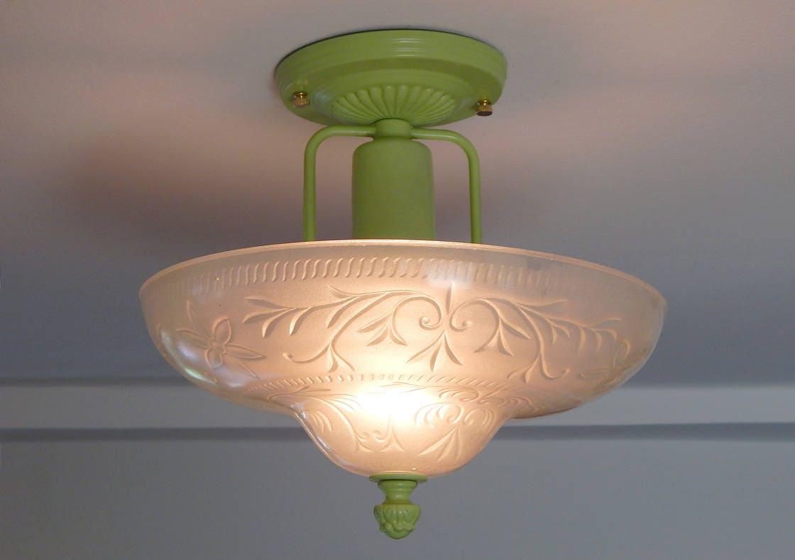 Semi Flush Ceiling Lights Glass Brass Fixture Bathroom: Semi Flush Center Post Ceiling Light With Custom Brass Fixture