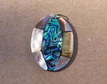 Abalone Shell Oval Vintage Pendant