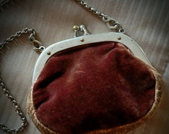 Antique Victorian 1900s Velvet Leather Chain hang Clasp Purse Child Doll Nice Steampunk for Attire
