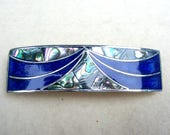 Vintage Art Deco style hair barrette Mexican abalone mother of pearl inlay hair slide hair clip hair jewelry (AAQ)