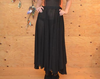 Vintage 90's Sheer Floral Lace In Black Orange Summer Maxi Dress In  SZ M