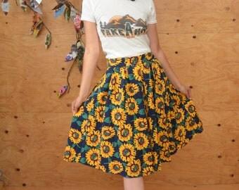 Vintage 80's Navy Blue Sun Flower Midi Skirt SZ S