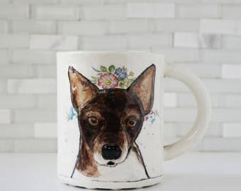 Rat Terrier Mug, Dog Mug | handmade ceramic pet dog portrait mug | coffee mug tea cup living | brown black tan with flower crown | in stock
