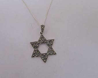 Beautiful Star of David Pendant Necklace, Marcasite and Sterling Silver Jewish Star Necklace, Judaica David Star Jewelry, Sterling Chain