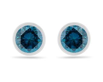 Platinum Fancy Blue Diamond Stud Earrings, 2 Carat Bezel Set Certified Handmade Unique
