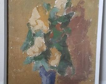 SALE!!  Vintage Classy Fine Art Thick Impasto Mid Century Impressionist Still Life Floral Flowers Vase Painting