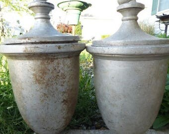2 Vintage finials post caps lidded silver metal Architectural salvage ornamental urns