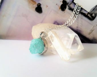 Bright Teal and Silver Druzy Crystal Necklace