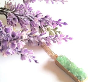 Green Druzy Crystal and Rose Gold Necklace