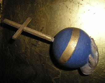 Vintage LG.Salvaged Religious Infant of Prague Hand/Cross/Globe.Spiritual Fragment..