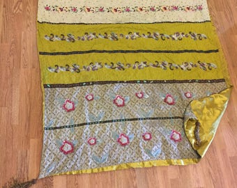 "BOHO INDIA TAPESTRY, Beaded Tapestry, Table Cloth Beaded Tassels, 48"" X 56"", Beaded Wall Hanging, Wall Hanging, Boho Decor at Modern Logic"