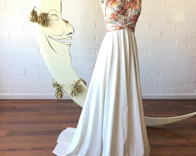 Garden Floral Whimsical Strap Two-Toned with Train Bridal Crescent Bay Off White Octopus Convertible Wrap Gown- All Sizes