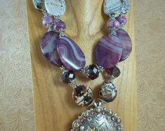 Cowgirl Necklace Set - Chunky Purple and Brown Agate - Horse Trio Concho Pendant