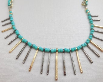 Aqua teal turquoise necklace fringe fan dainty silver gold chain bar necklace