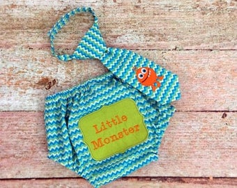 Baby Boy's Diaper Cover and Necktie, Size 12 Months/Monsters/Cake Smash/Photo Prop, READY TO SHIP