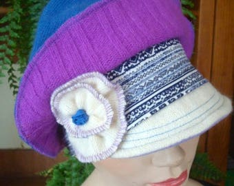 womens hat newsboy chemo cap peak soft hat wool funky upcycled ooak GypsyRose hat