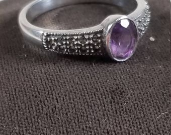 Vintage Judith Jack 925 Sterling Silver Oval Purple Amethyst and Marcasite Ring Size 9.75