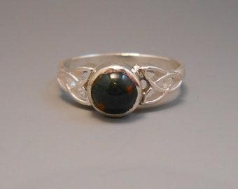 Bloodstone Recycled Genuine Gemstone Sterling Silver Ring Crucifixion Stone Celtic Trinity Irish Ireland Heliotrope