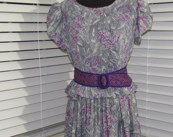 MILESTONE SALE 40% OFF with Coupon, Grey, Gray Purple Paisley Teal and White Dress, Small