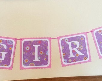 Lamb banner, lamb baby shower, baby shower banner, it's a girl banner, baby banner for girl