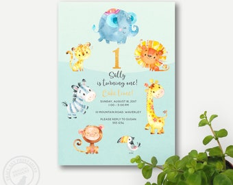 Zoo First Birthday Invitation | Animal Birthday Decor | 2nd Birthday Animal Jungle Party | 1st Birthday | Printable DIY | 1044