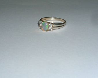 Australian Crystal Opal Ring With Natural White Topaz Gemstones Sterling Silver .925